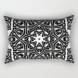 Celtic Knot Ornament Pattern Black and White Rectangular Pillow