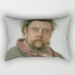 Modest Petrovich Mussorgsky (1839 – 1881) by Ilya Repin in 1881 Rectangular Pillow