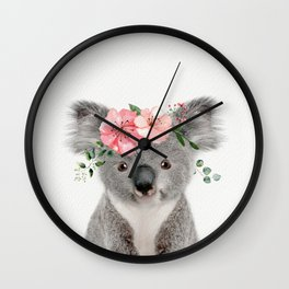 Baby Koala with Flower Crown Wall Clock