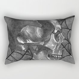 Black Grey and White, American Style Tattoo Skull Rectangular Pillow