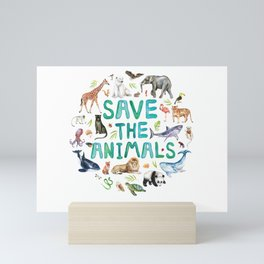 Watercolor Save the Animals Mini Art Print