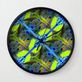 ART NOUVEAU FLYING GREEN PARROTPEACOCK FEATHER CHARTREUSE ART Wall Clock