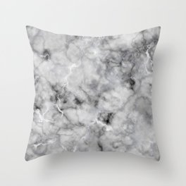 Grey and Silver Veined Faux Marble Repeat Throw Pillow