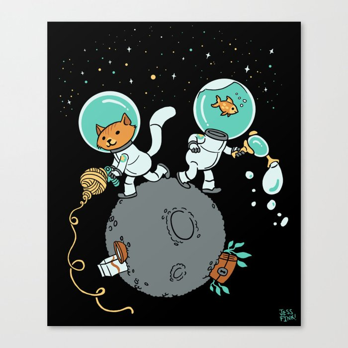 Space Kitty and Captain Fish Canvas Print