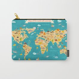 Animal map for kid. World vector poster Carry-All Pouch