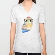 hipster owl Unisex V-Neck