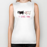 school Biker Tanks featuring I Like You. by gemma correll