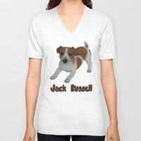 jack russell V-neck T-shirts featuring Jack Russell!  by Al's Visions