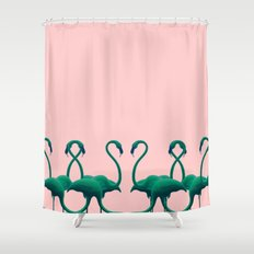 Peach Flamingos Shower Curtain