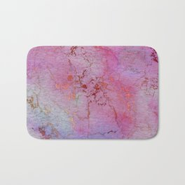 Modern abstract gold pink lilac watercolor marble Bath Mat