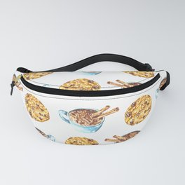 Cookie and Hot Chocolate Watercolor Pattern Fanny Pack