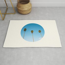 Mid Century Modern Round Circle Photo Minimalist Palm Trees Against Blue Sky Rug