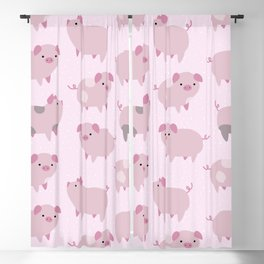 Cute Pink Piglets Pattern Blackout Curtain