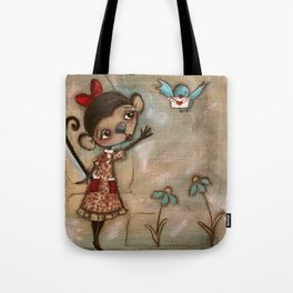 I Feel the Same  -  A Monkey, A Blue bird, and Love Tote Bag
