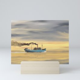 Steamship Freighter heading towards the ocean Mini Art Print