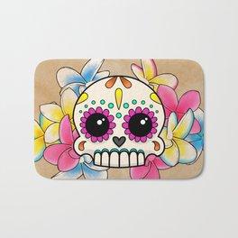 Calavera con Flores - Sugar Skull with Frangipani Flowers Bath Mat