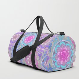 Pink, Purple and Turquoise Super Boho Doodle Medallions Duffle Bag