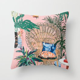 Ginger Cat in Peacock Chair with Indoor Jungle of House Plants Interior Painting Throw Pillow