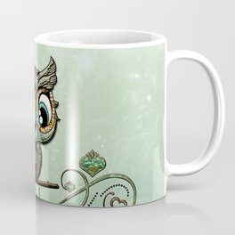 Cute little owl, green diamond Coffee Mug