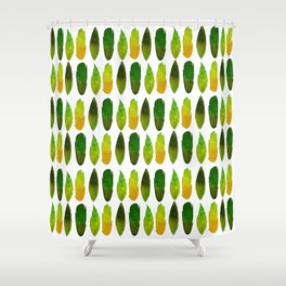 Green-yellow feathers Shower Curtain