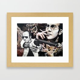 Hunter S. Thompson - Gonzo - Acrylic, Graphite, and Gel Medium on Hardboard and Paper Framed Art Print