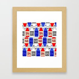 red white and blue IPA beer pattern Framed Art Print