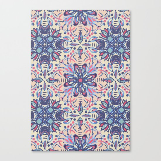 Protea Pattern in Blue, Cream & Coral Canvas Print