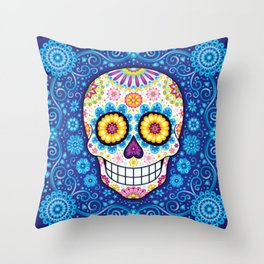 Sugar Skull Art - Psychedelic Day of the Dead Skull Art by Thaneeya McArdle Throw Pillow