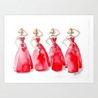 Rouge on the Runway Fashion Illustration Art Print