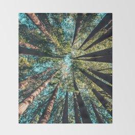 Treetop green blue Throw Blanket