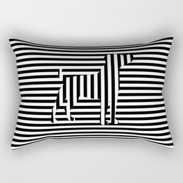 Dog on Stripes Rectangular Pillow