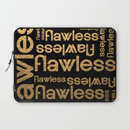 Flawless Gold Metallic Repeated Typography Laptop Sleeve