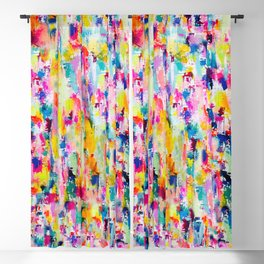Bright Colorful Abstract Painting in Neons and Pastels Blackout Curtain