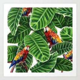 tropical leaves macaw pattern Art Print