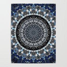 Dark Blue Grey Mandala Design Poster