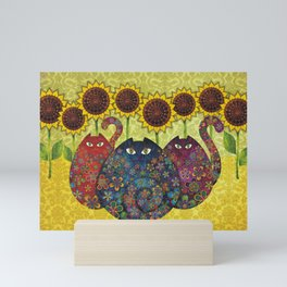 Cats & Sunflowers Mini Art Print