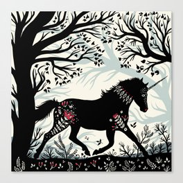Folk Unicorn Canvas Print