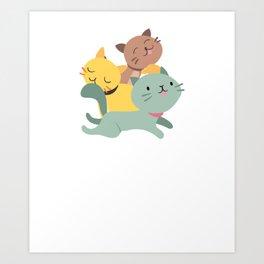 Adorable & Cute Purrramid Pyramid of Cats Kittens Art Print