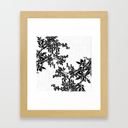 Black and White Leaf Toile Framed Art Print