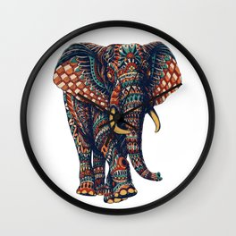 Ornate Elephant v2 (Color Version) Wall Clock