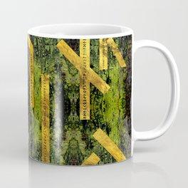 Vintage Gold Runic alphabet on tree bark Coffee Mug