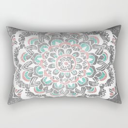 Pastel Floral Medallion on Faded Silver Wood Rectangular Pillow