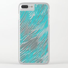 feathered lines in teal Clear iPhone Case