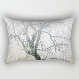 Naked tree surrounded by fog Rectangular Pillow