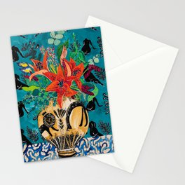 Amphitrite: Orange Lily and Wildflower Bouquet in Lion and Giraffe Urn on Emerald Matisse Inspired Wallpaper Stationery Cards