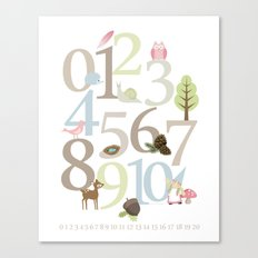 Woodland Numbers - Pink Canvas Print