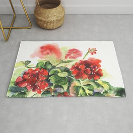 plant geranium, flowers and leaves, watercolor Rug