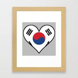 Korean Flag Heart Framed Art Print