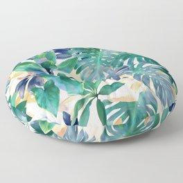 Golden Summer Tropical Emerald Jungle Floor Pillow