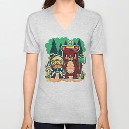 Lumberjack and Friend Unisex V-Neck